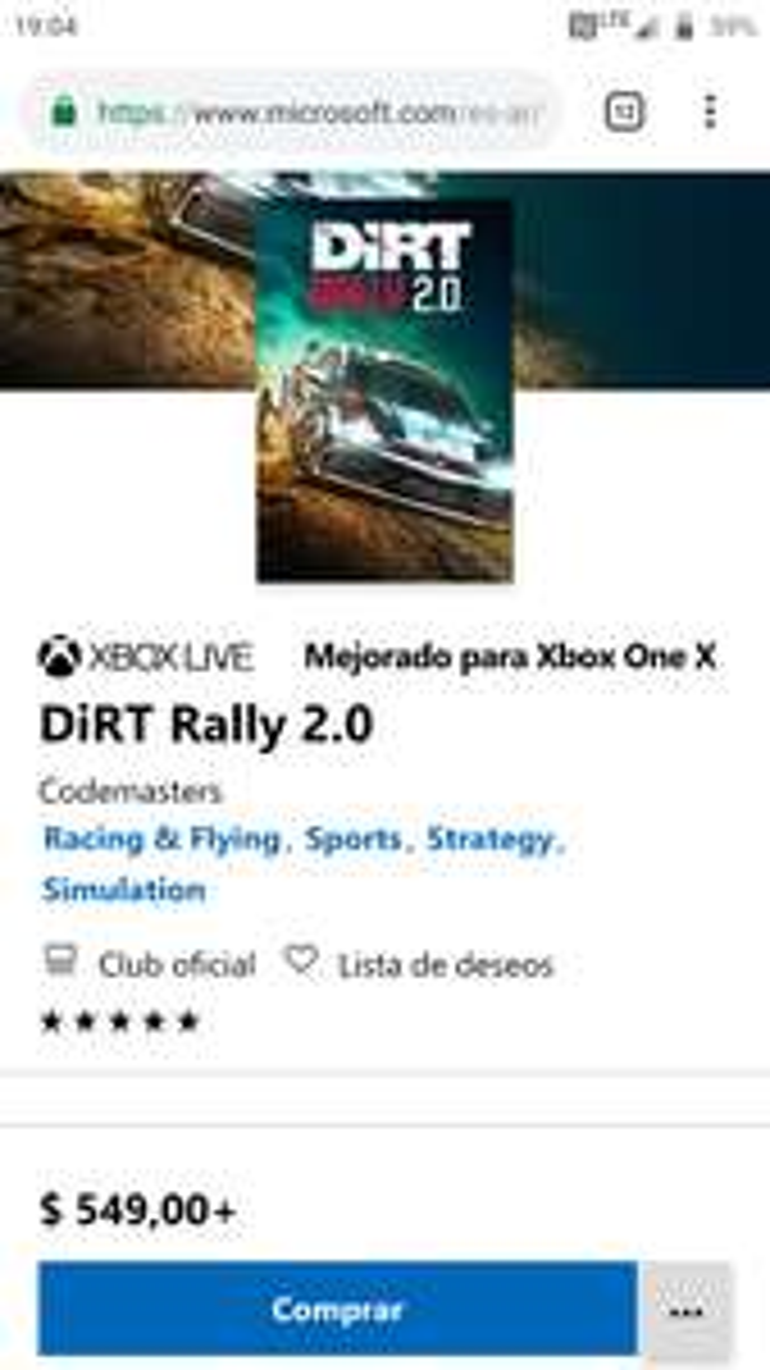 Gra xbox one Dirt rally 2.0 ms store Argentyna revolut 549 ARS
