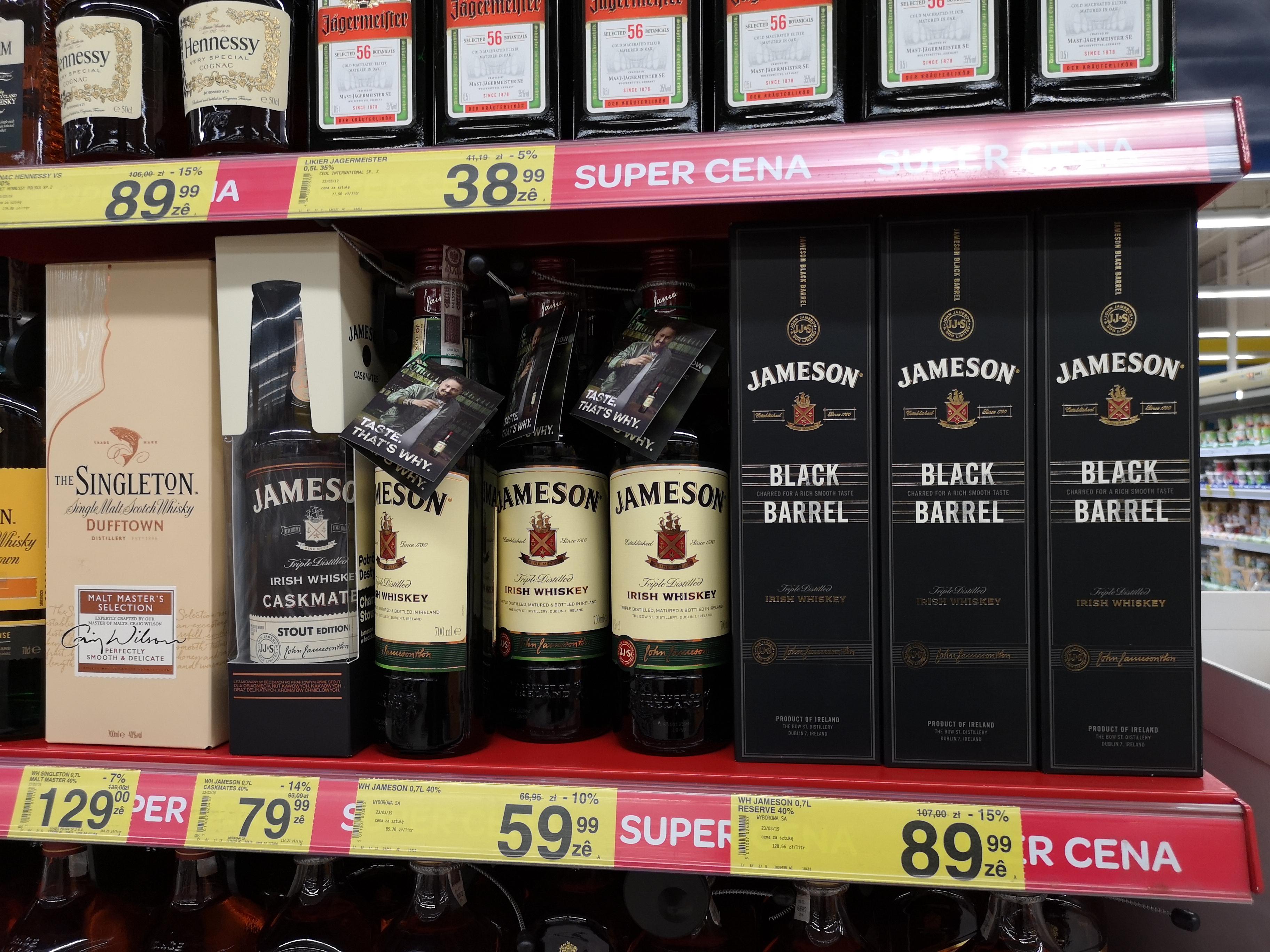 Jameson Black 89, zwykły 59 w Carrefour