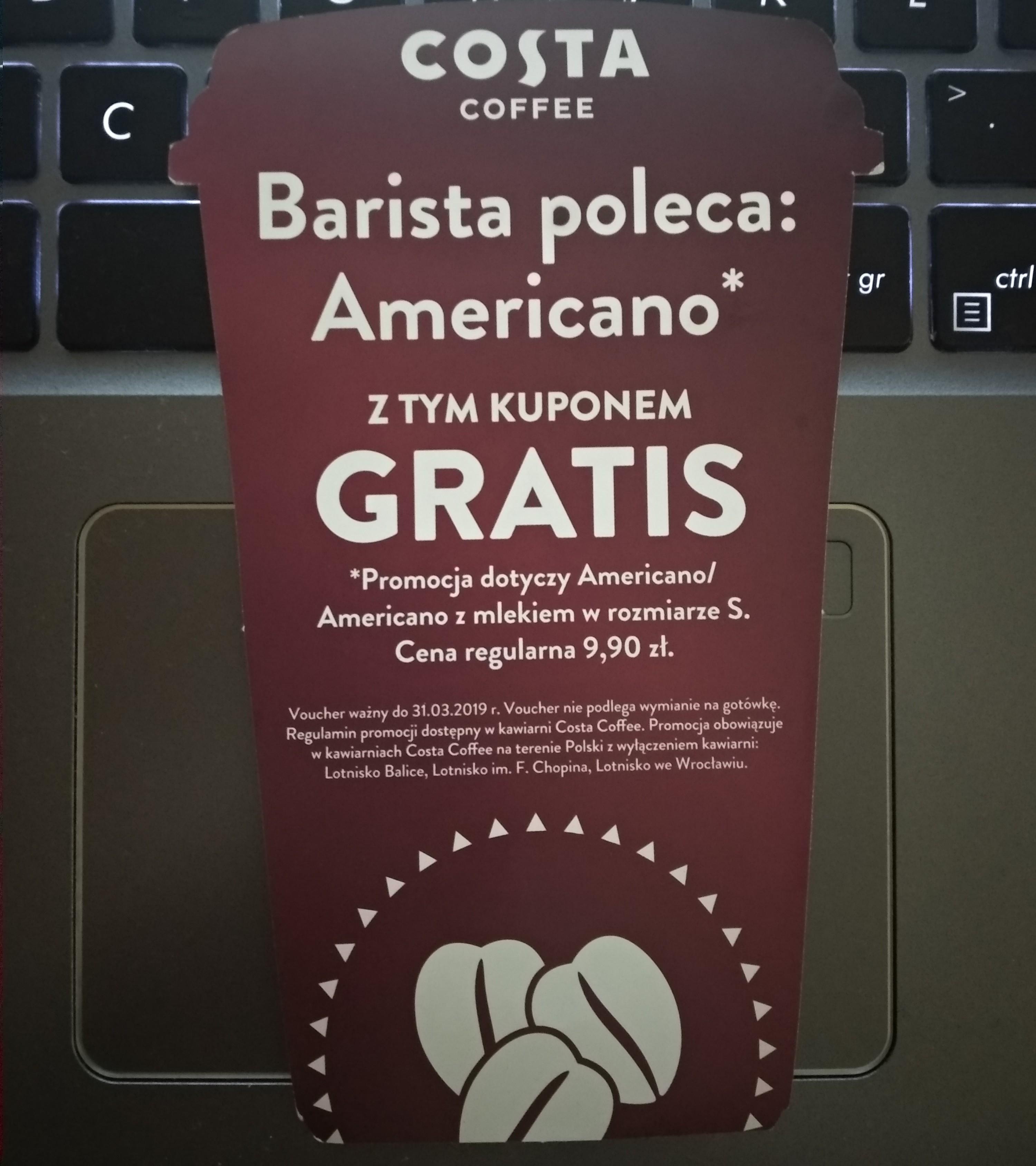 Darmowa kawa Americano w Costa Coffee