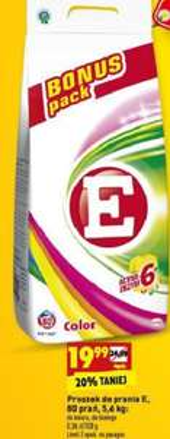 Proszek do prania E (do koloru i białego) 80 prań (tylko 0,25zł/pranie) 5,6kg (3,57zł/kg) @ Biedronka