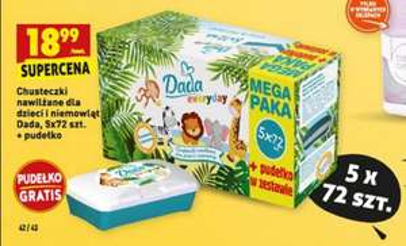 BIEDRONKA Chusteczki nawilżane dla dzieci 5x72 szt pudełko GRATIS