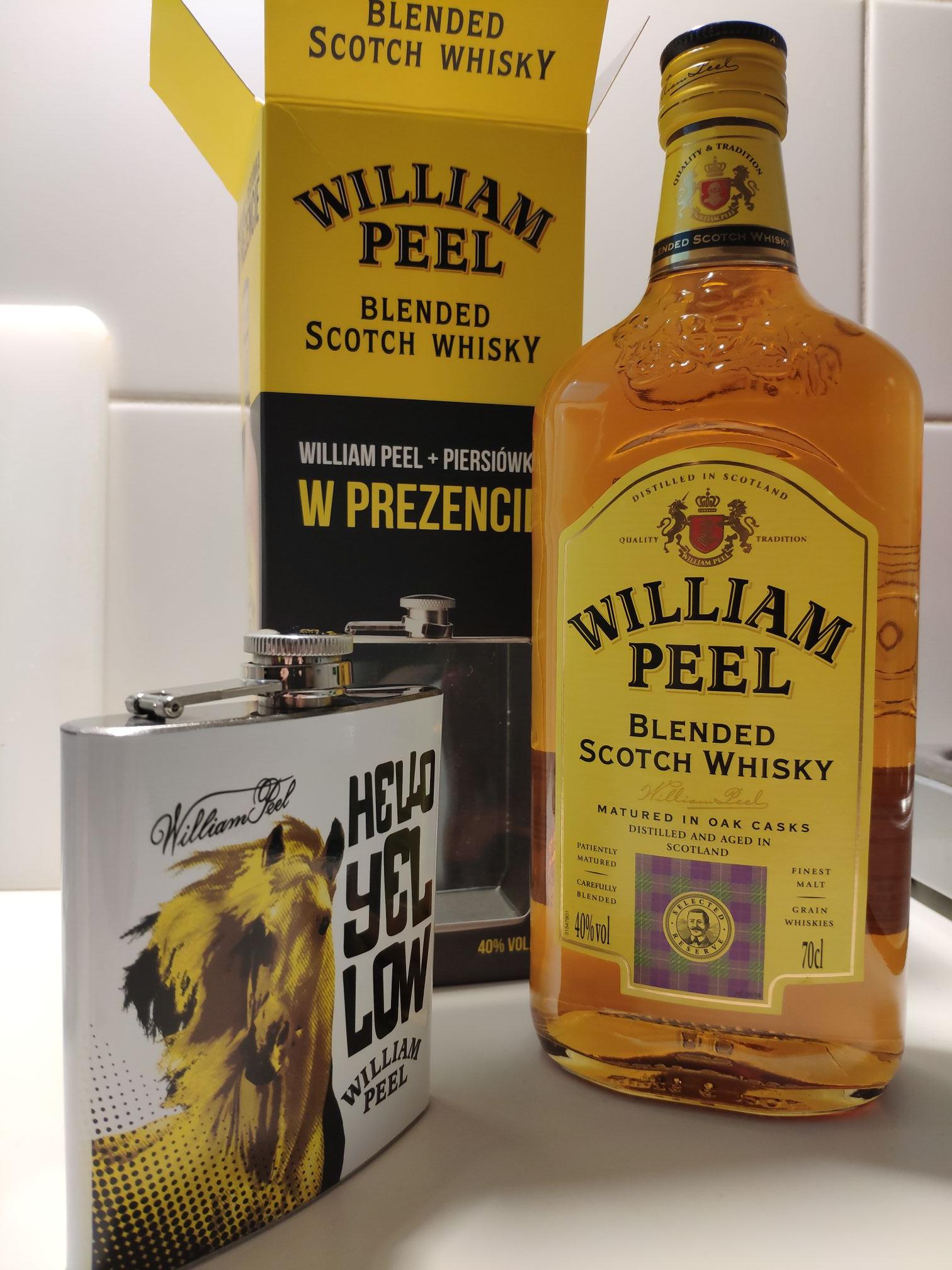 Whisky William Peel 0,7l + piersiówka [Stokrotka]