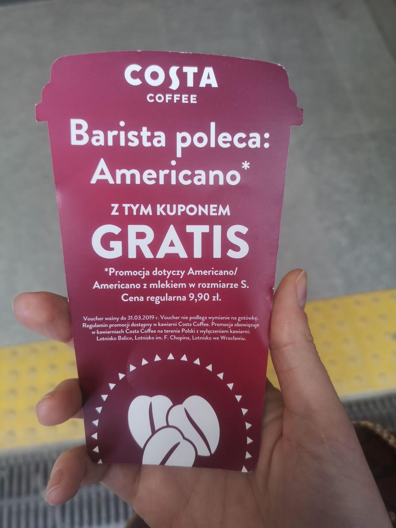 Poznań: rozdają voucher na DARMOWĄ kawę americano w Costa Coffee