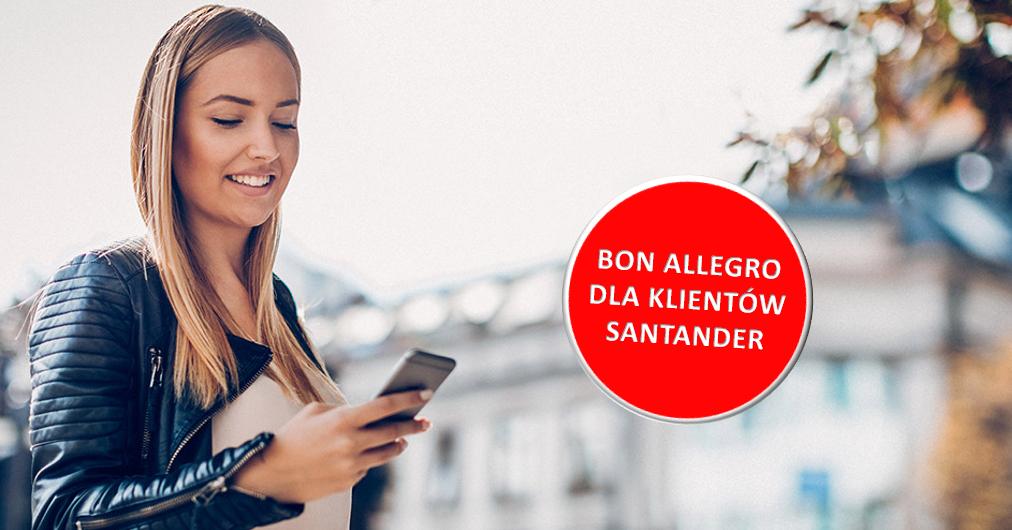 Bon Allegro o wartości 20 zł za 2 transakcje w aplikacji mobilnej banku Santander