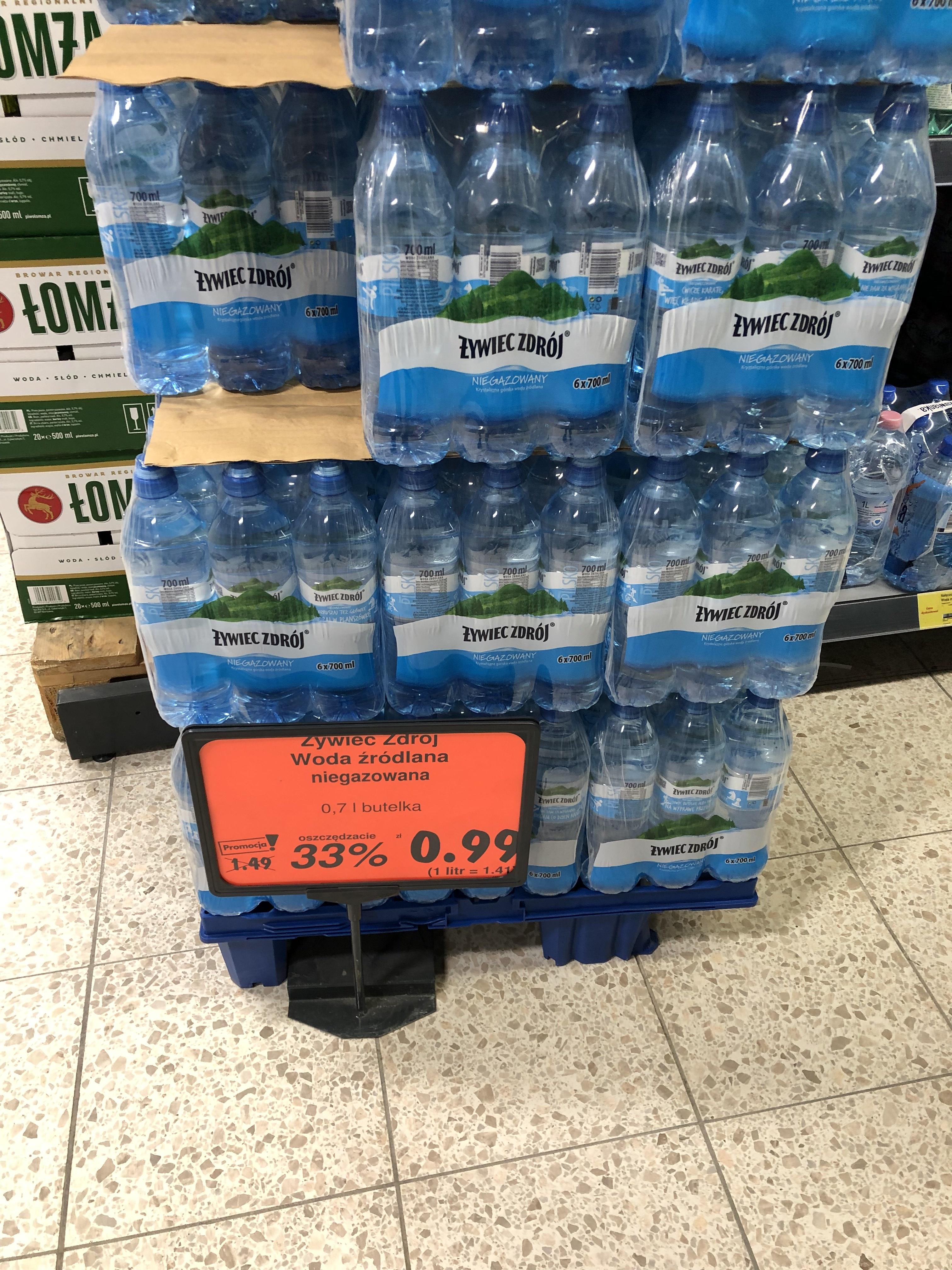 Kaufland woda niegazowana Żywiec Zdrój 0,7 l