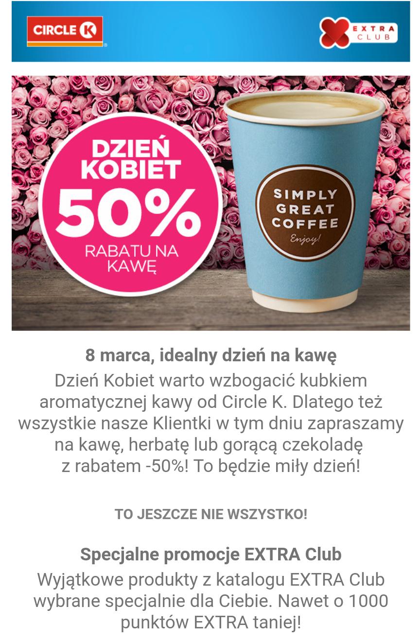 50% rabatu na kawe, czekolade i inne gorące napoje dla Kobiet 8 marca na stacjach Circle-K