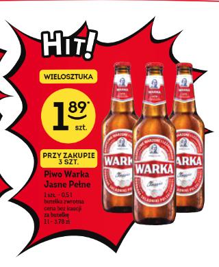 Piwo Warka butelka cena przy 3 sztukach @żabka