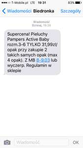 Pieluchy pampers active baby biedronka rozm. 3-6