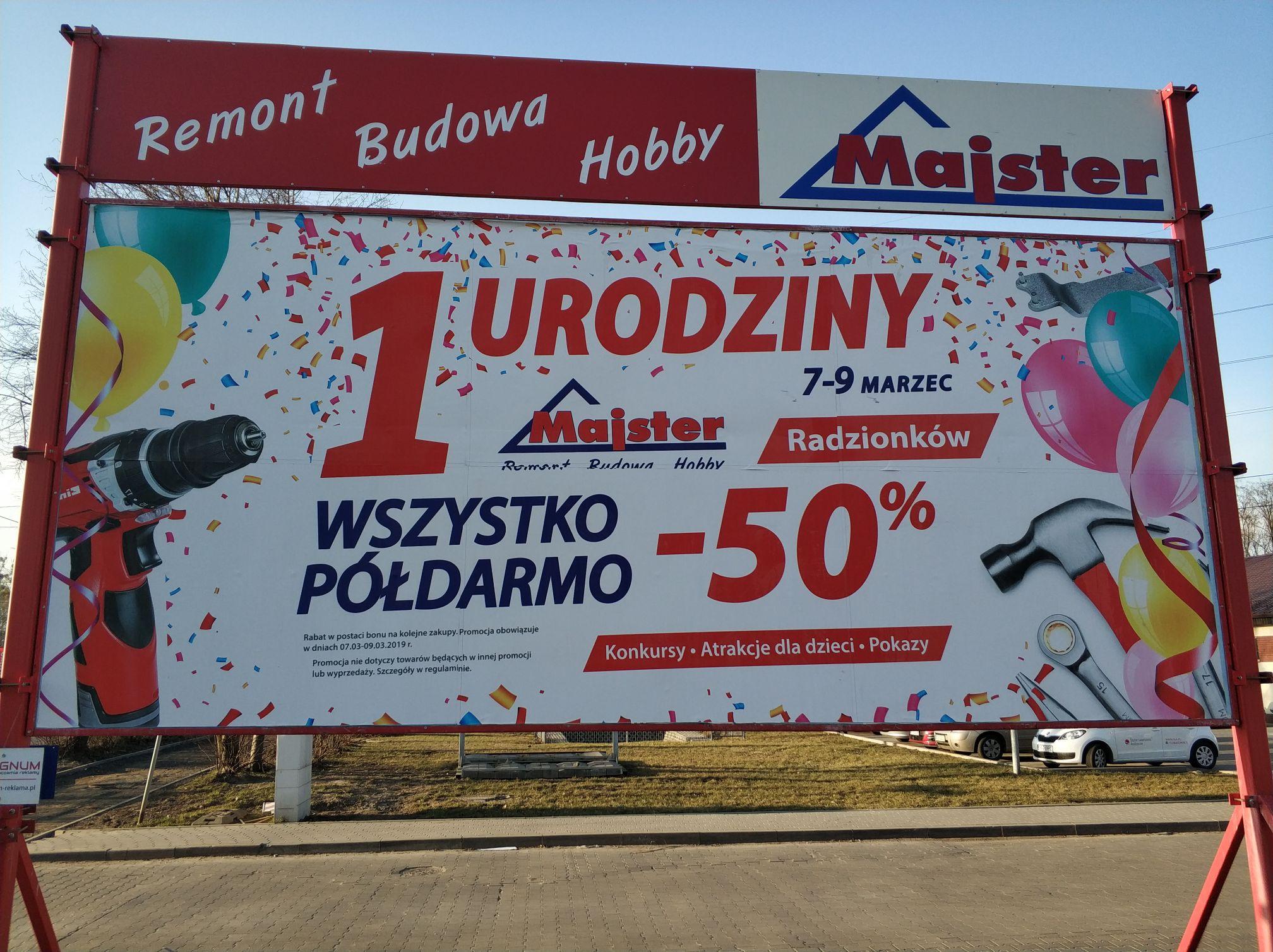 Majster Radzionków -50% na wszystko w regularnych cenach w formie bonu na następne zakupy