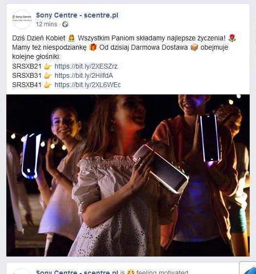 Z okazji Dnia Kobiet na Scentre.pl Darmowa Dostawa na głośniki SRSXB21 , 31 i 41 linki w opisie