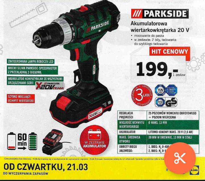 Wkrętarka Parkside 18V z akumulatorem 2Ah
