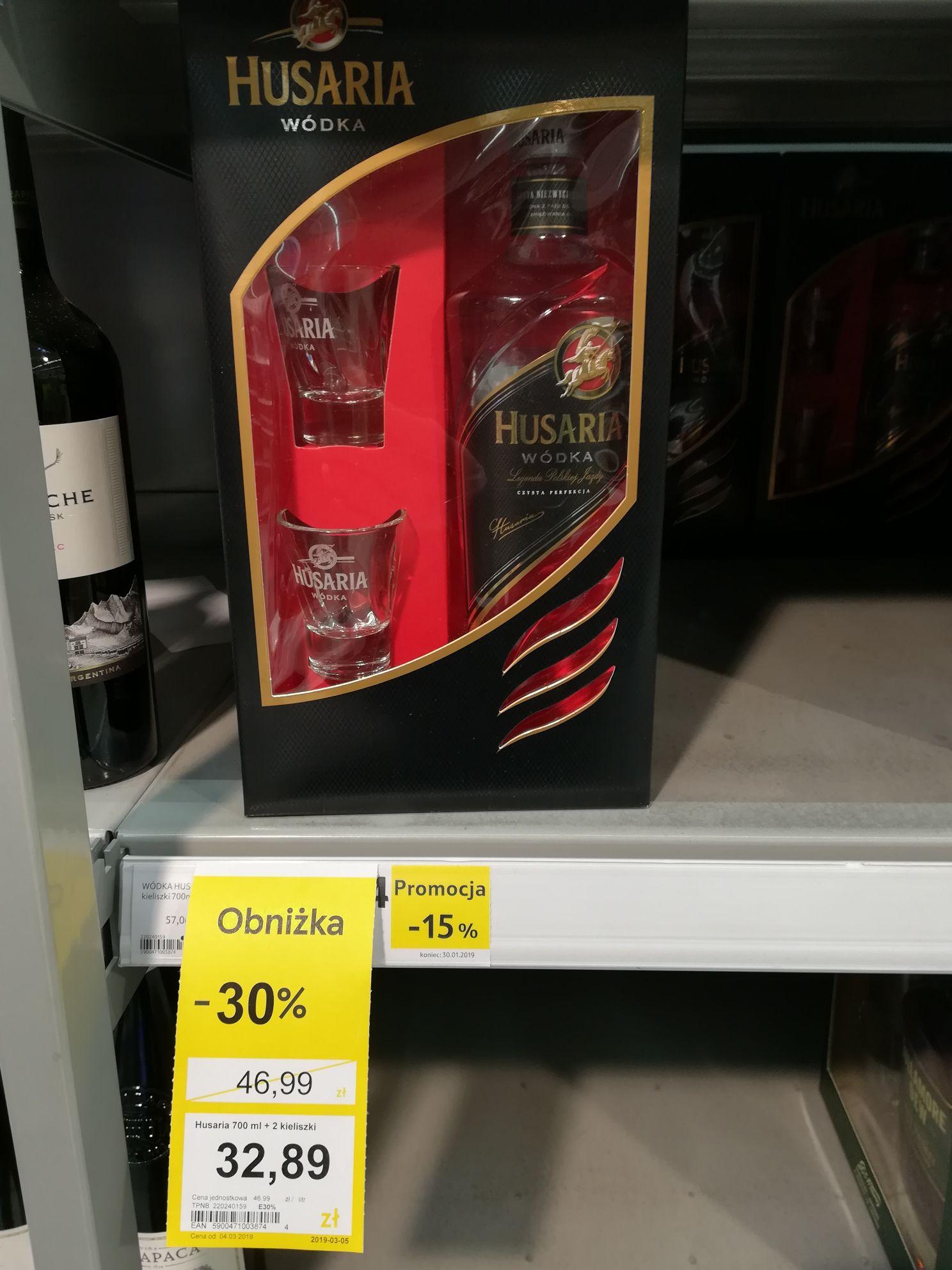 Wódka Husaria 0,7 + 2 kieliszki, TESCO aktualizacja 11.03