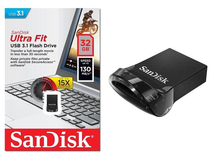Szybki mini pendrive Sandisk Cruzer Ultra Fit 32GB, 130MB, Auchan