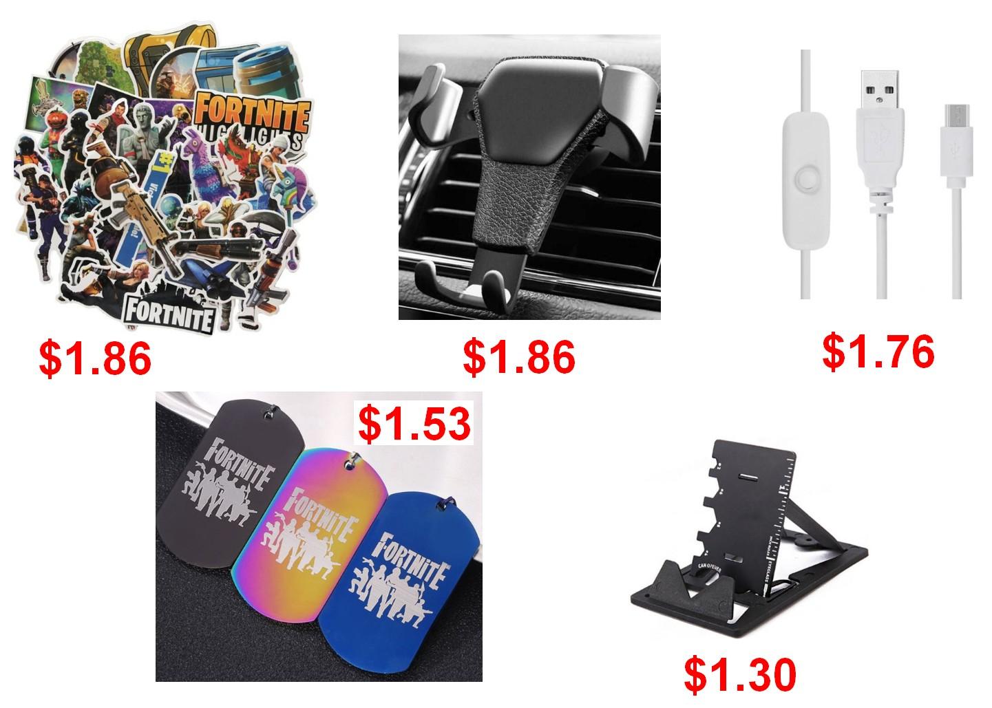 Uchwyt samochodowy / Zawieszka i Stickery Fortnite / Wielofunkcyjna karta / Kabel USB do Micro USB do ładowania Raspberry Pi 3 1,5m
