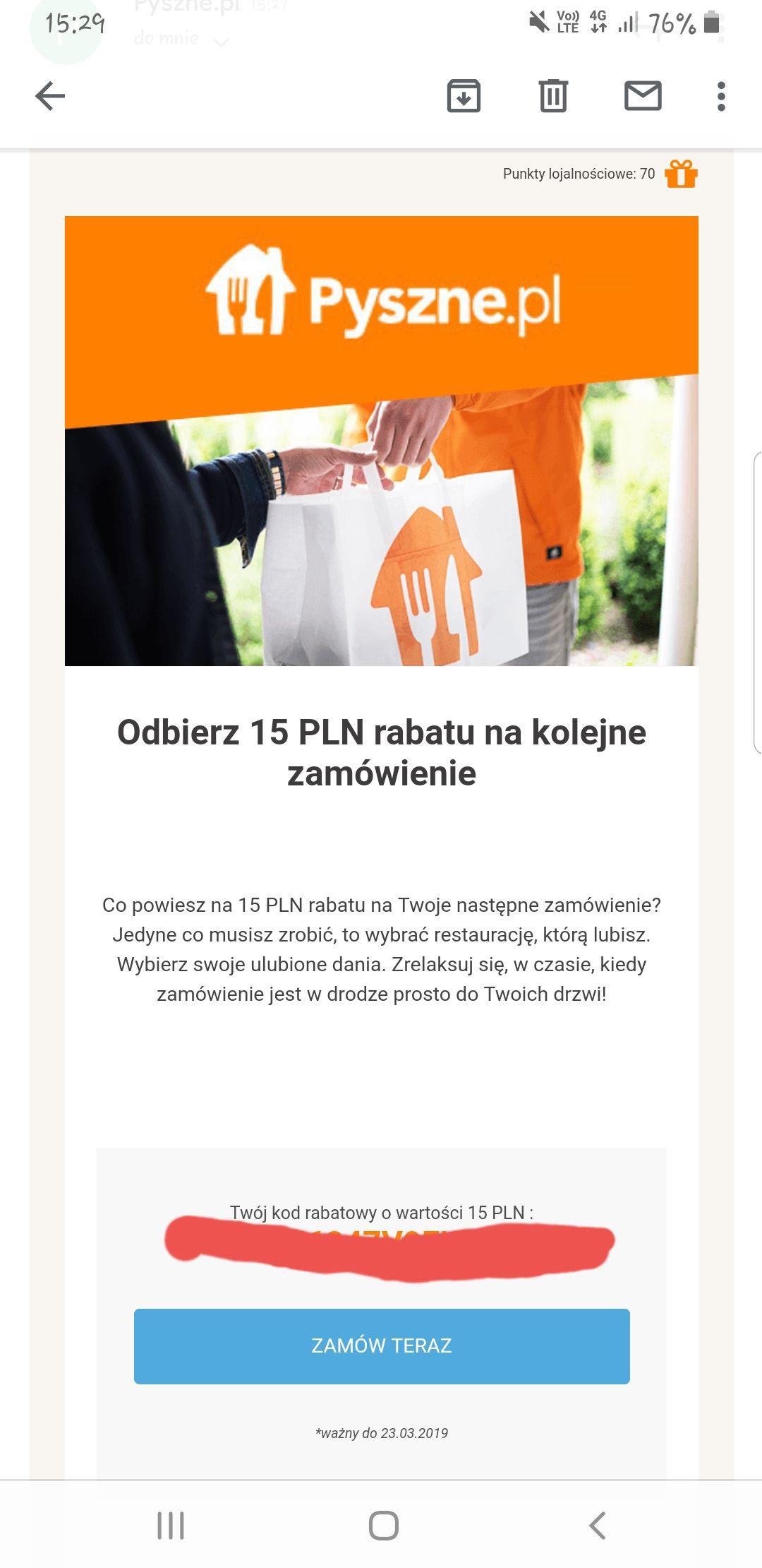 Pyszne.pl rozsyla kody -15zl na zamówienie.