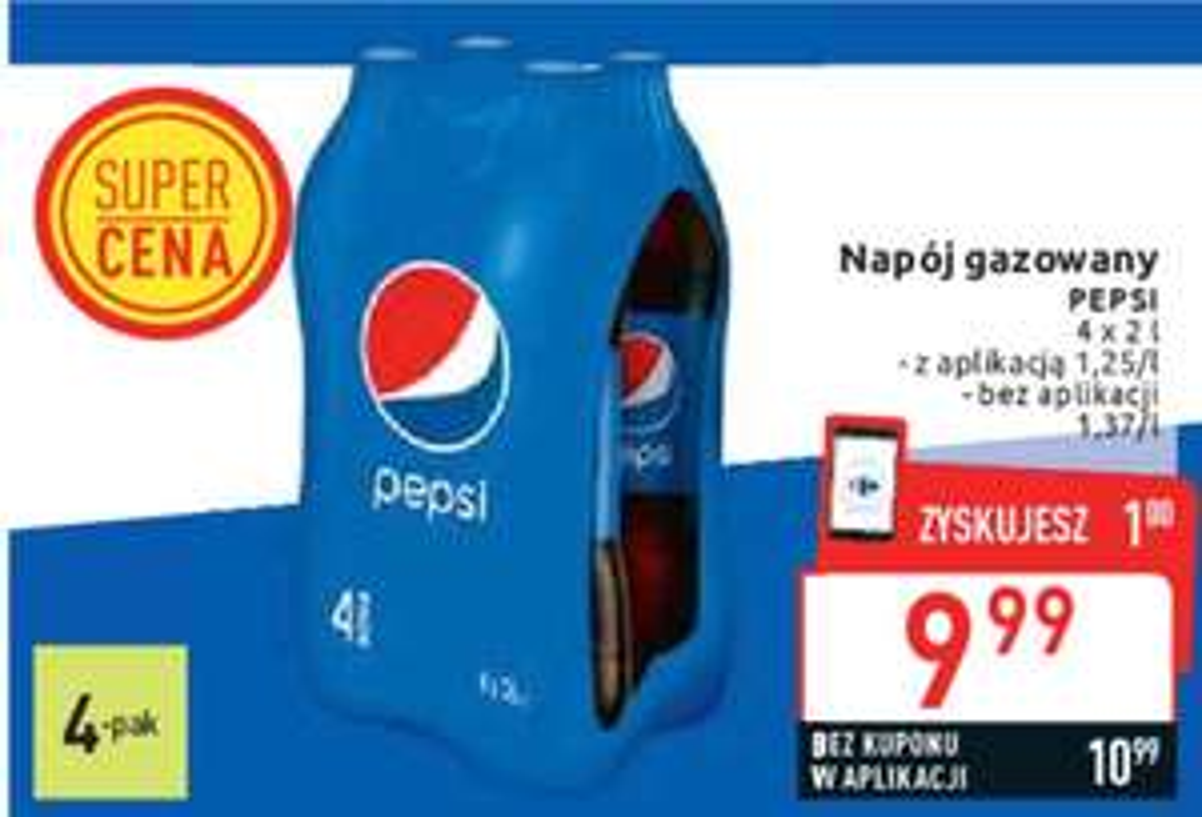 4-pak Pepsi 2L w Carrefour