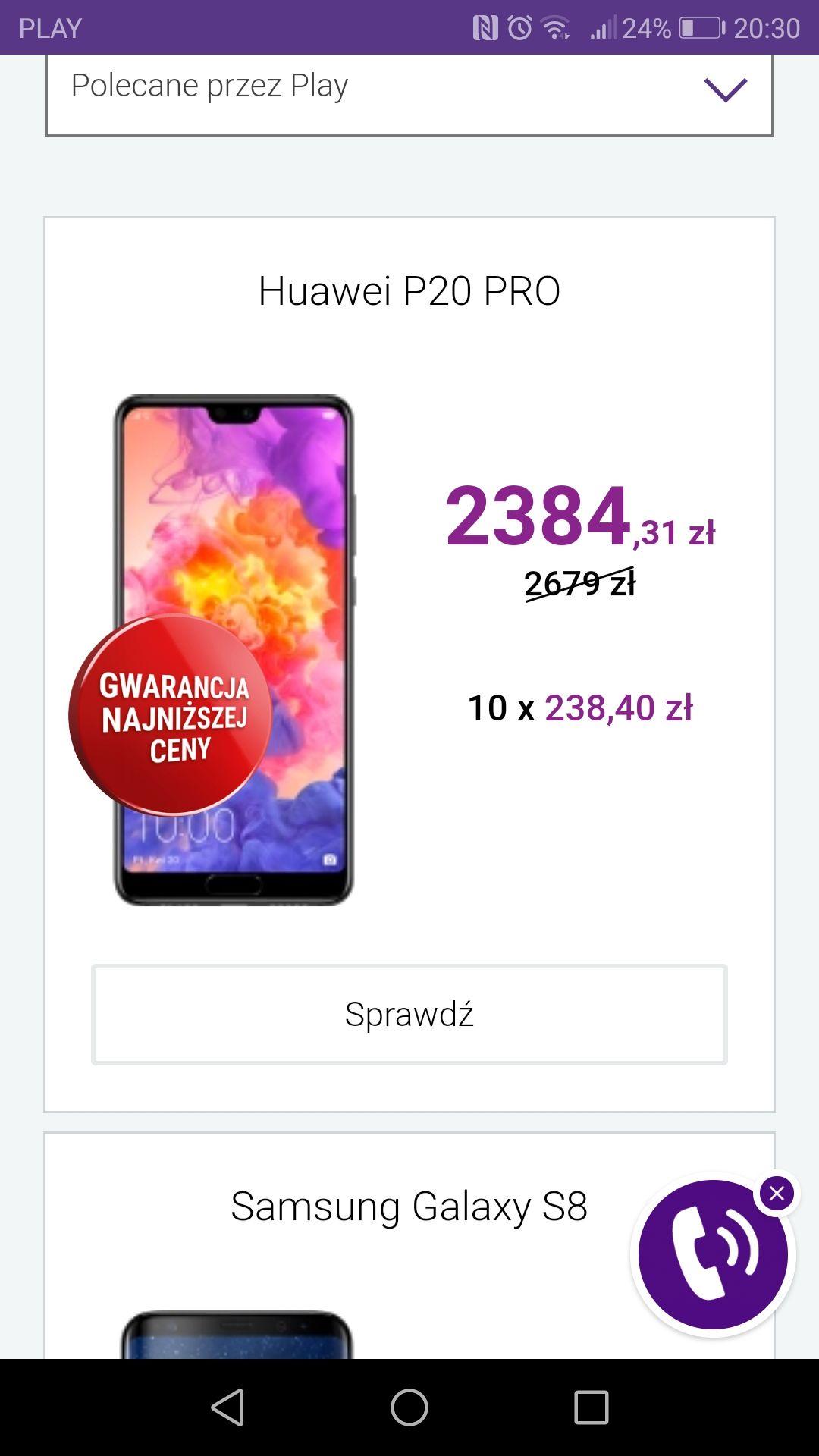 Huawei P20 pro bez abonamentu PLAY