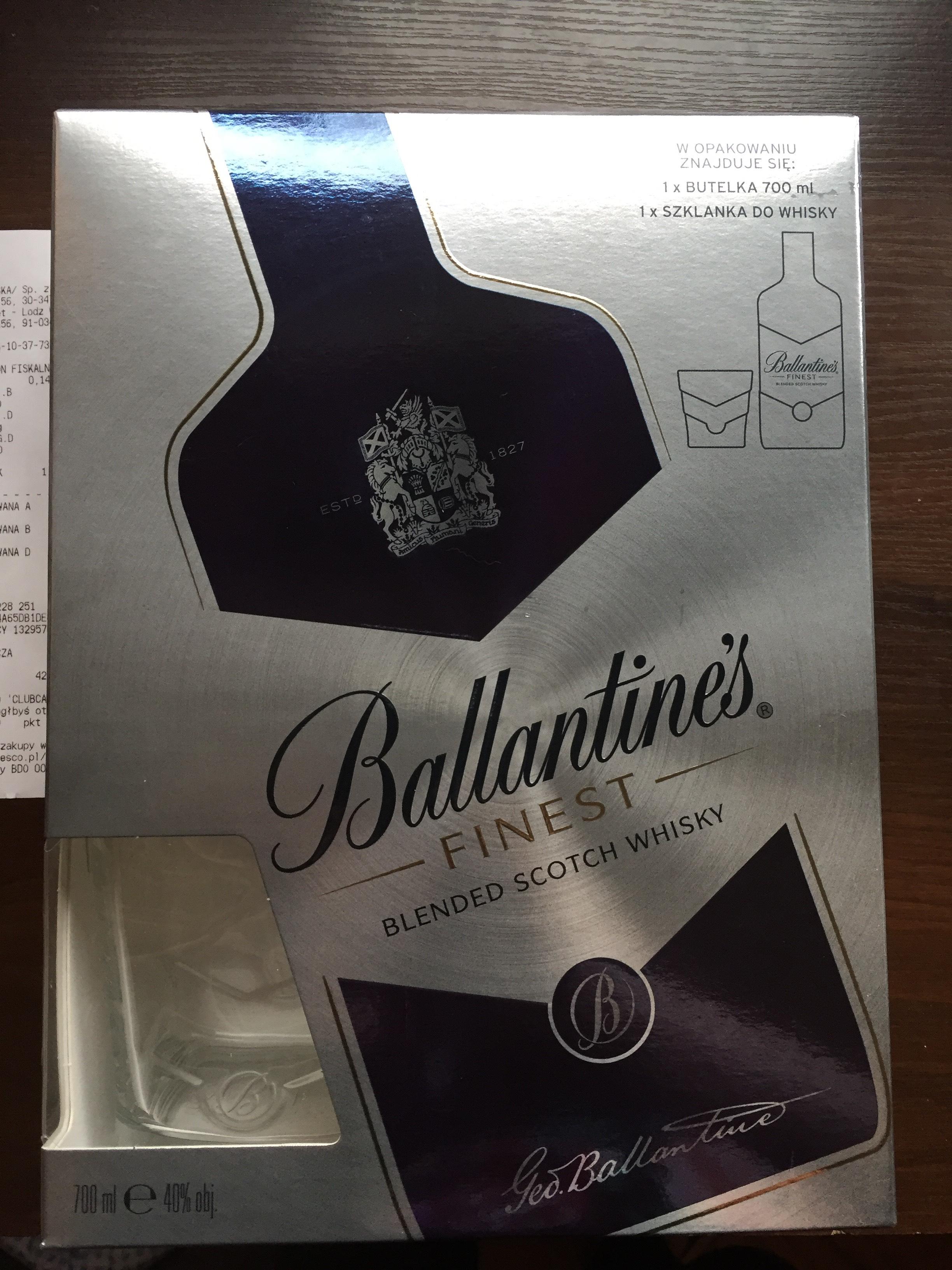 Ballantines 0,7 + szklanka TESCO