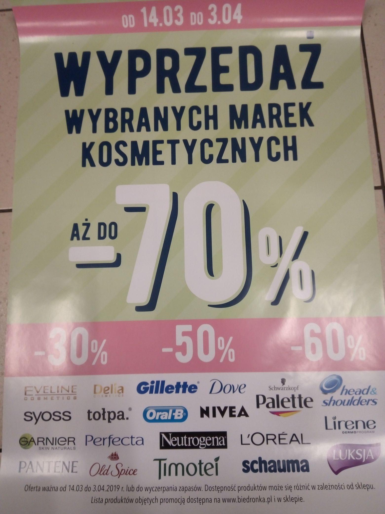 Wyprzedaż wybranych marek kosmetycznych aż do -70%.  @Biedronka