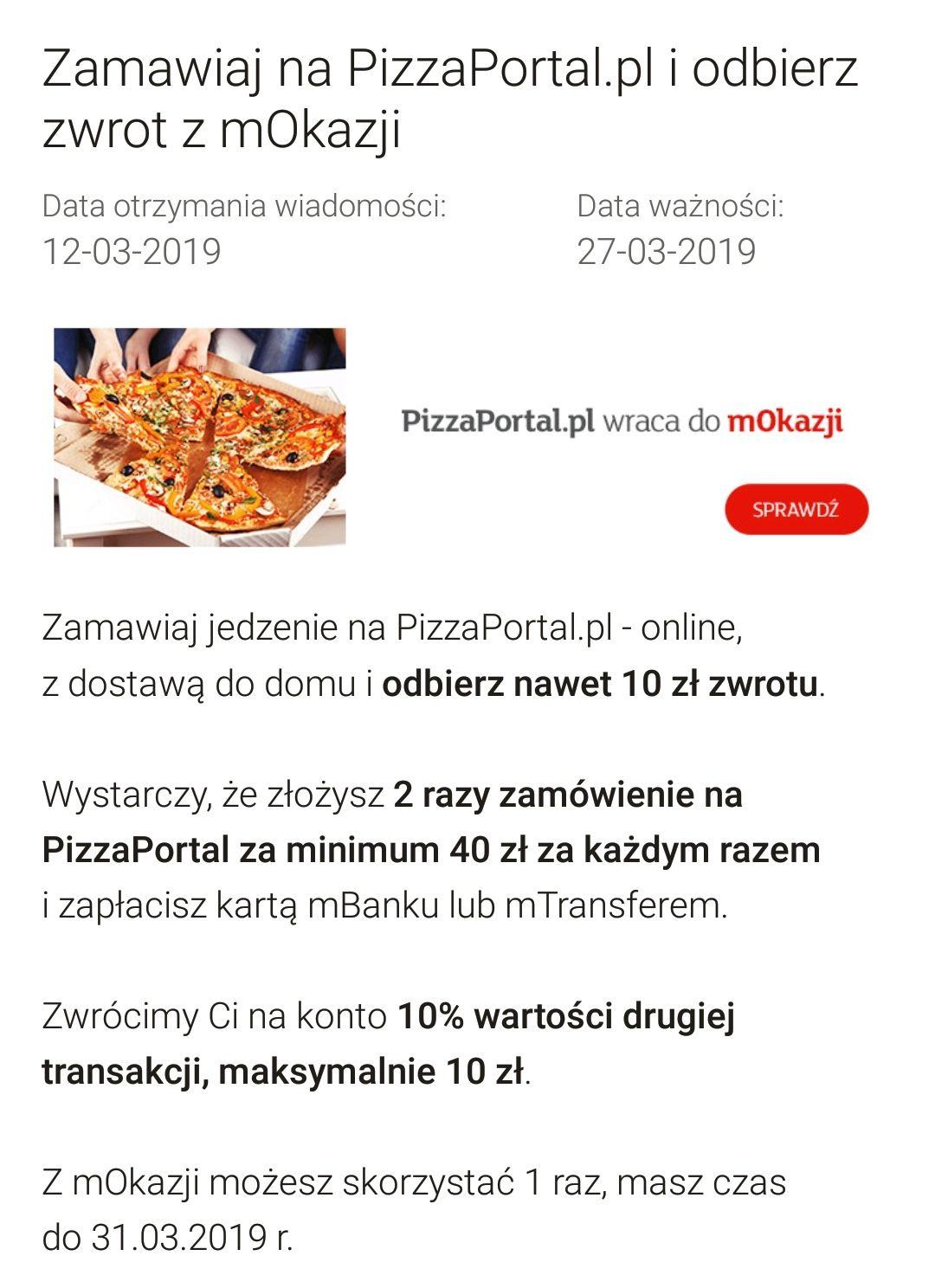 Zwrot 10% za 2 zamówienie na PizzaPortal.pl minimalna wartość zamówienia 40zł - mBank