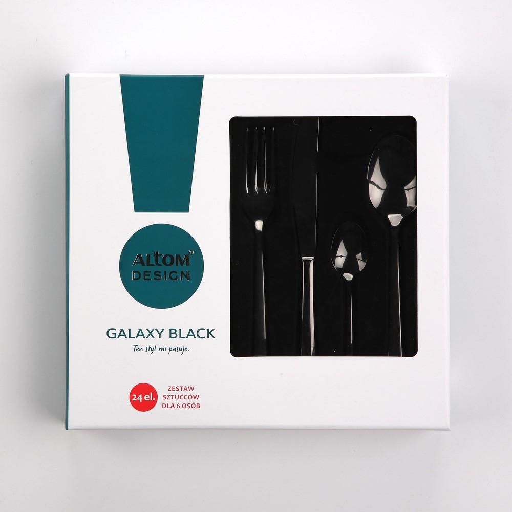 Czarne sztućce ze stali nierdzewnej dla 6 osób Altom Design Galaxy Black (24 sztuki), Auchan