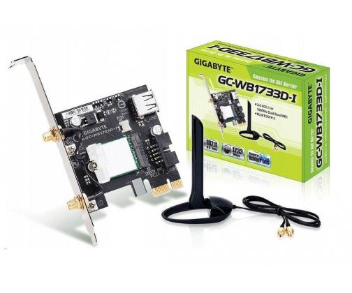 Karta sieciowa Gigabyte GC-WB1733D-I, WiFi 802.11ac, Bluetooth 5, PCIe, Dual Band, 1734 Mbps