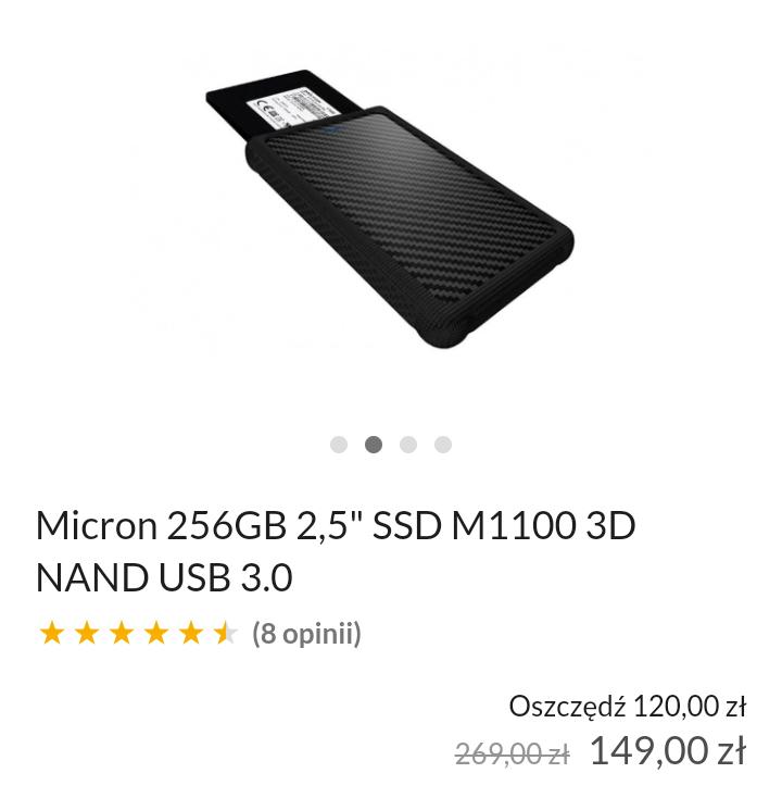 """Micron 256GB 2.5""""SSD M1100 3D NAND + obudowa USB 3.0 - darmowy odbiór w salonie"""