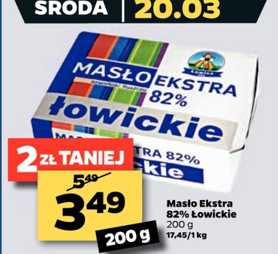 Masło ekstra Łowickie 82% tłuszczu Netto. (Bez limitów)