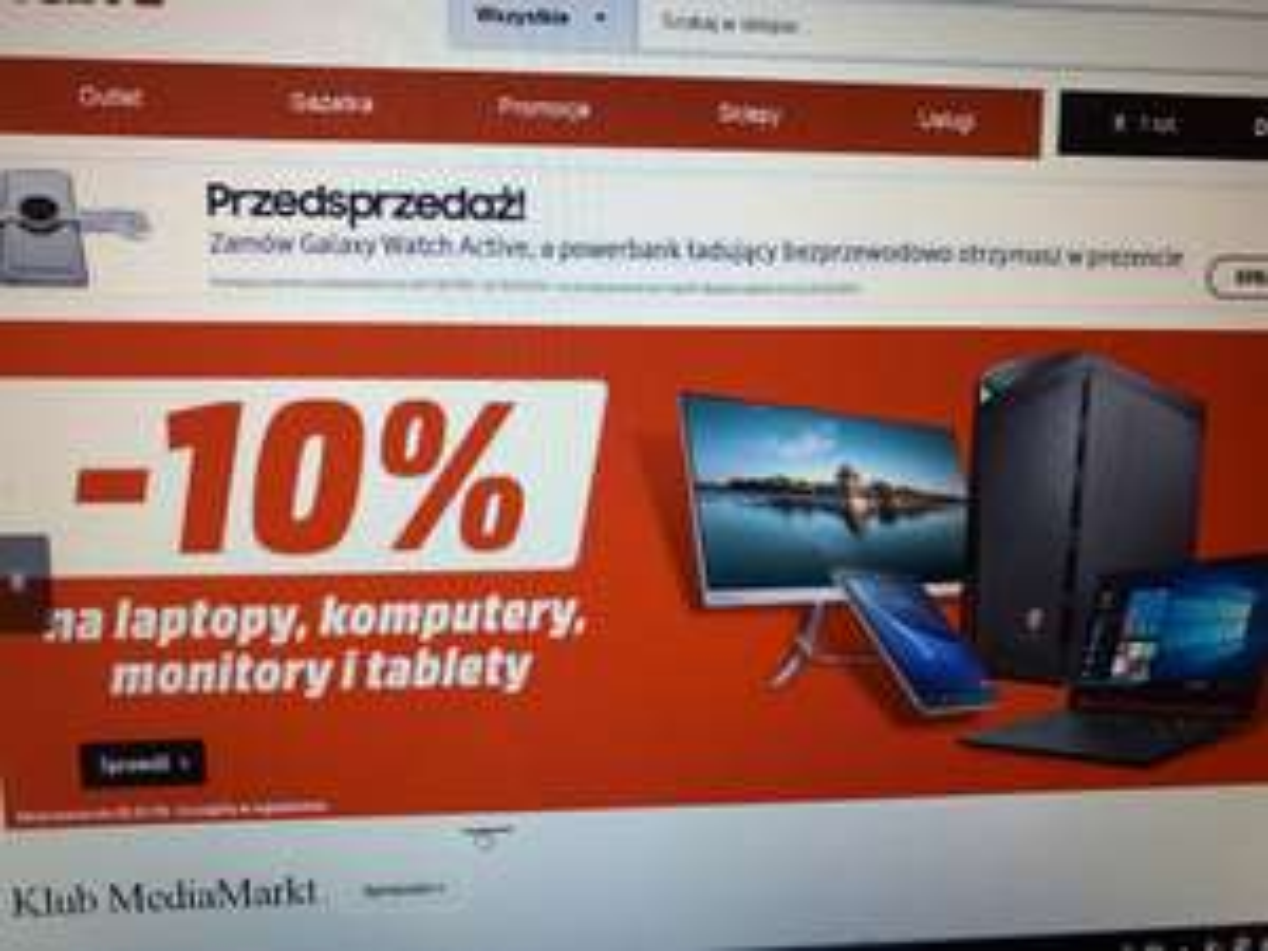 10% rabatu na wszystkie laptopy, tablety, komputery PC i monitory