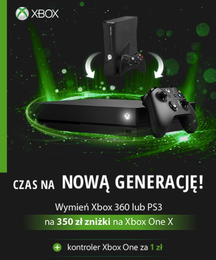 Oddaj stara konsole xbox360 lub PS3 i odbierz rabat 350zl na nową konsolę Xbox one x + dodatkowy pad (do250zl) za 1zl