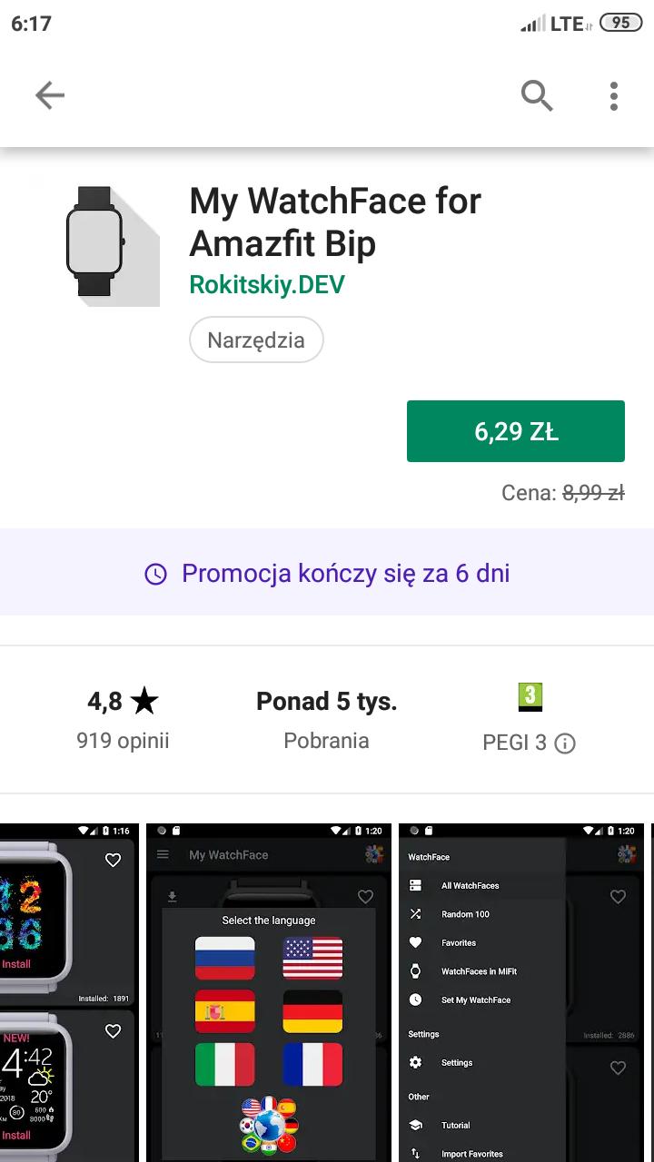 Aplikacja z tarczami po polsku do Amazfit Bip - My Watchface