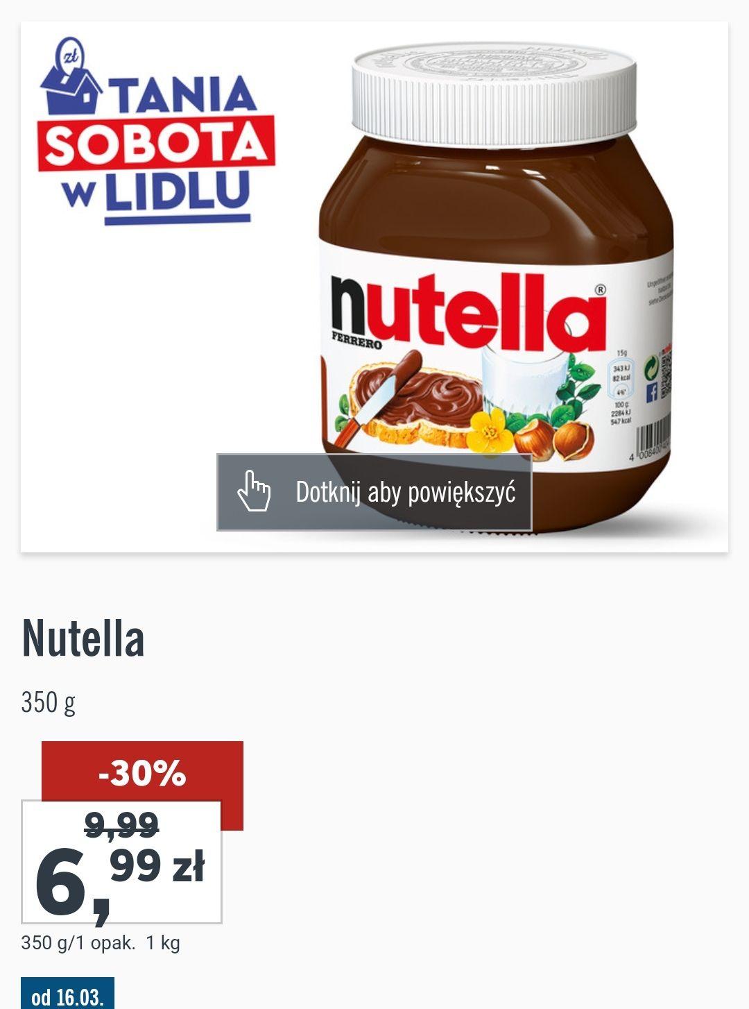 Nutella w Lidlu 6.99tylko w sobotę 16.03