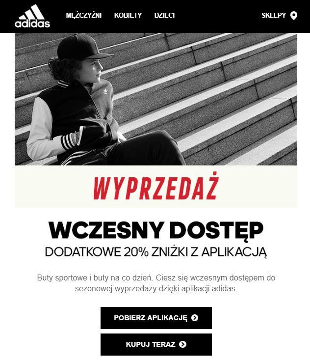 Adidas outlet -20% z aplikacją