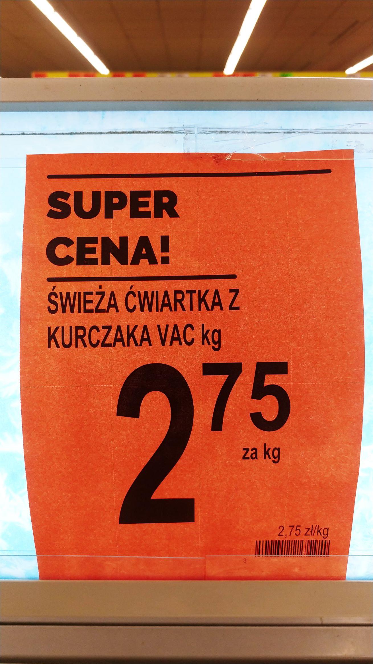 Ćwiartka z kurczaka, Udko 2.75/kg Biedronka