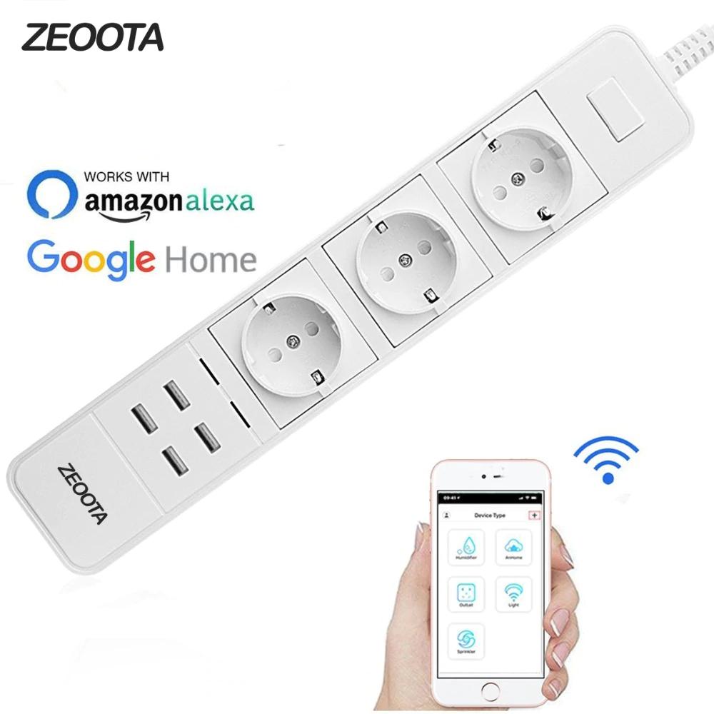 Listwa zasilająca - Smart Wifi - 3 sterowane niezależnie gniazda WI-FI + 4xUSB