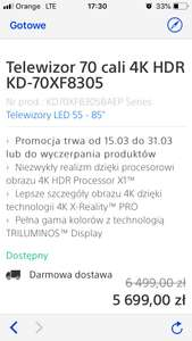 Telewizor Sony KD-70XF8305
