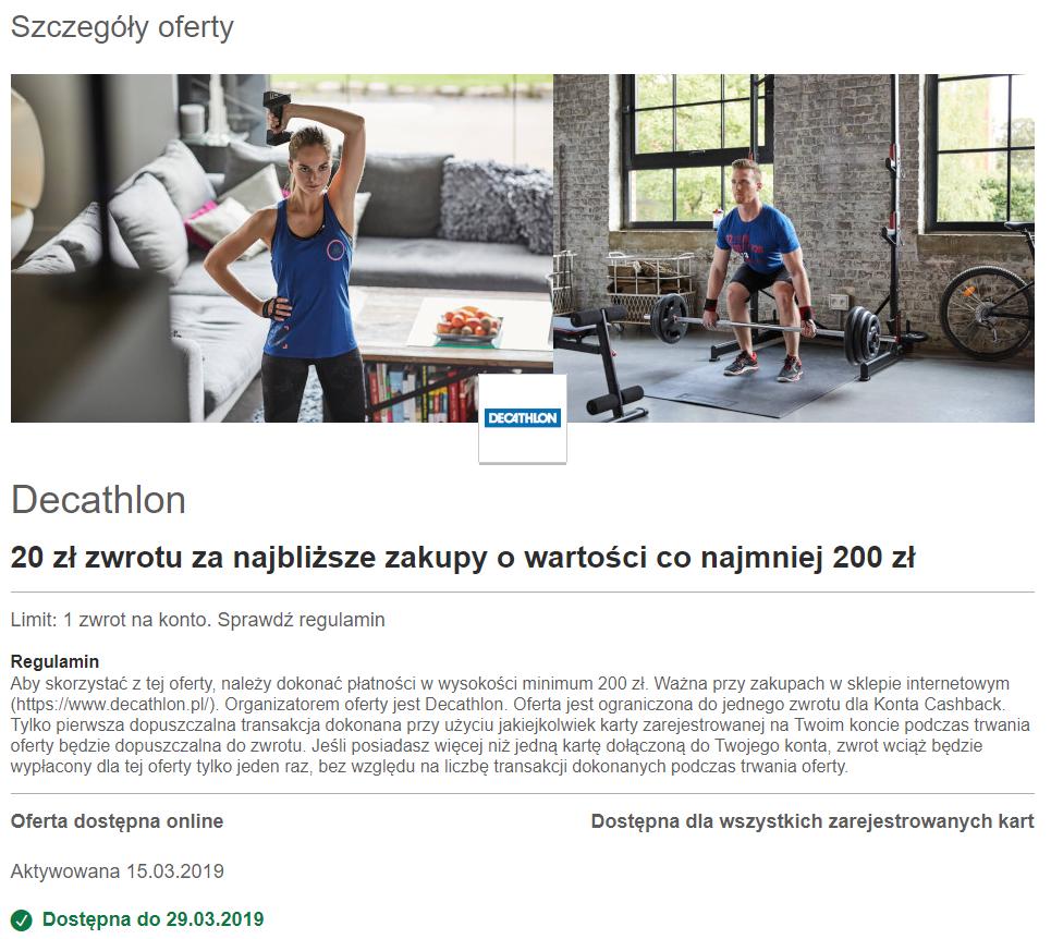 Visa Oferty 20 zł zwrotu za zakupy w DECATHLON za kwotę min. 200 zł