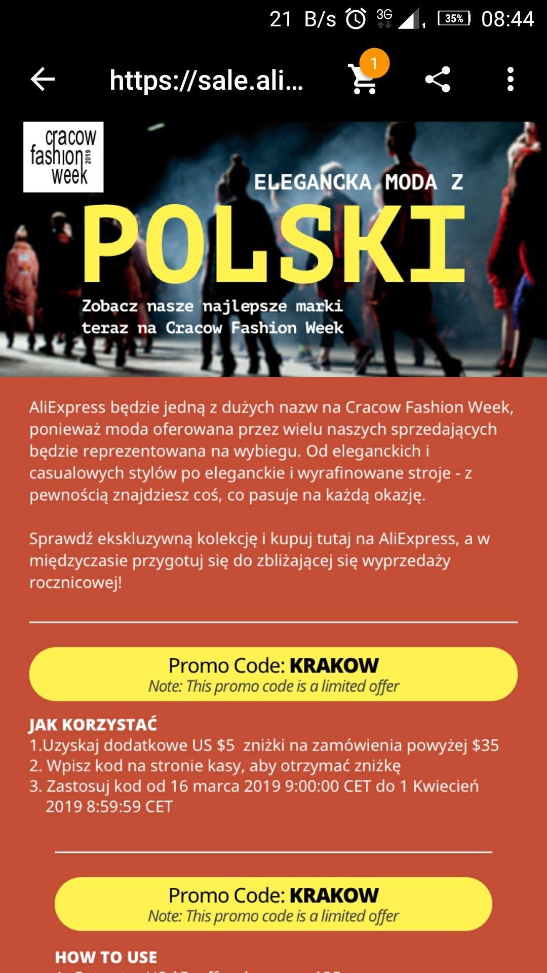 -5$/35$ na AliExpress - Cracow Fashion Week