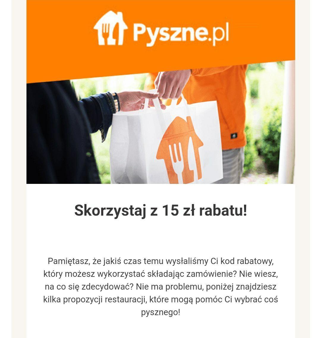 Pyszne.pl kody -15zł