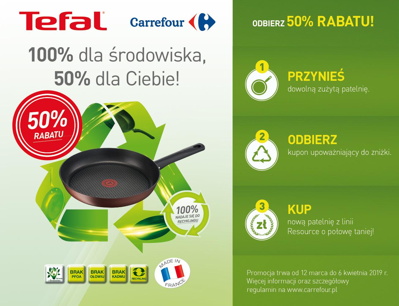 Przynieś zużytą patelnię i odbierz 50% zniżki na patelnię Tefal @ Carrefour