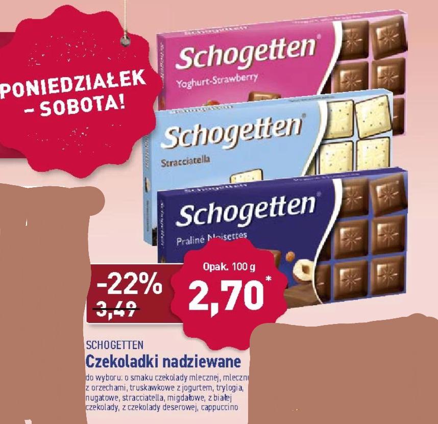 Czekolada Schogetten 100g Aldi wszystkie dostepne rodzaje