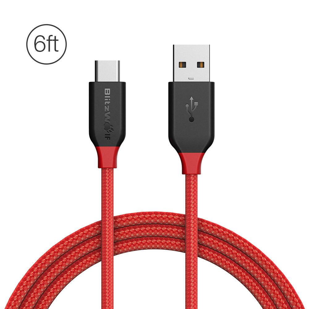 Kabel BlitzWolf USB TYP C BW-TC6 (3A QC2.0&3.0 1,8m)