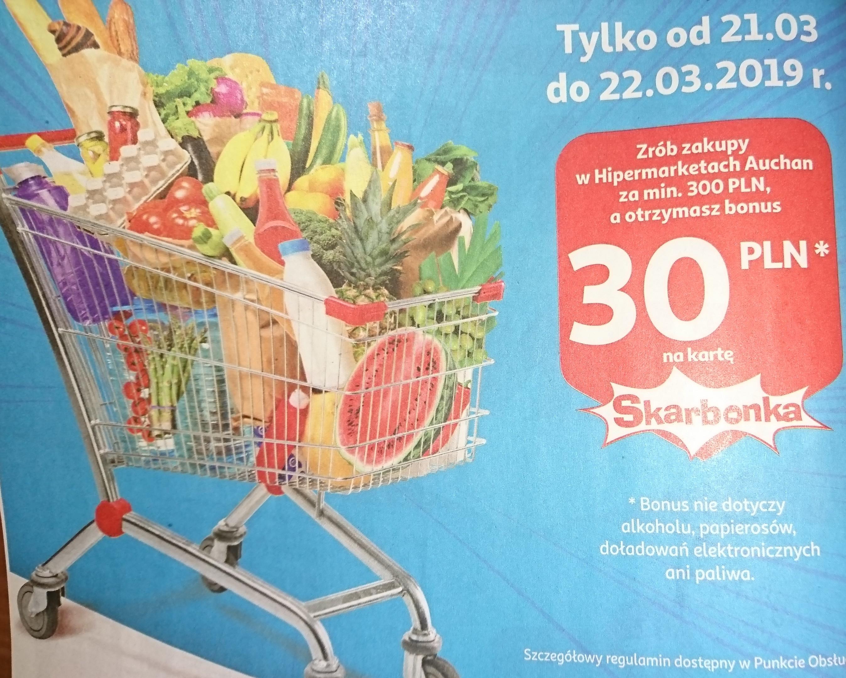Auchan 30 zł na kartę Skarbonka - MWZ 300 zł