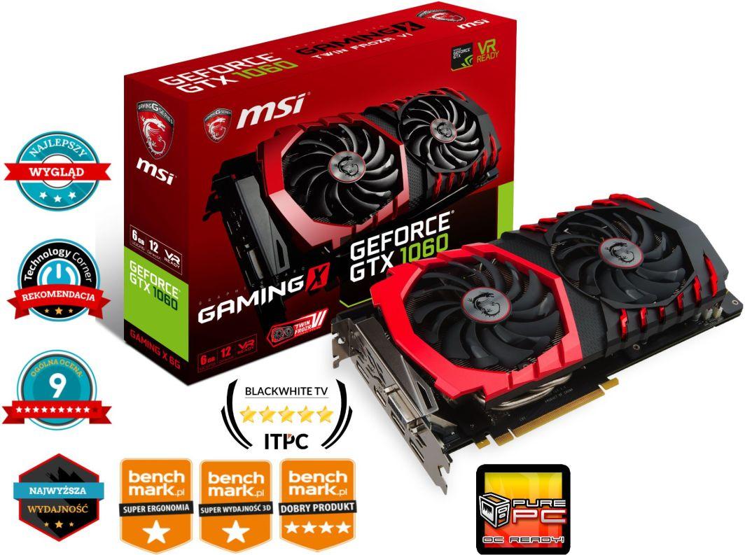 Karta graficzna MSI GeForce GTX 1060 GAMING X 6GB + DYSK SSD 240 GB ZA 1 PLN!