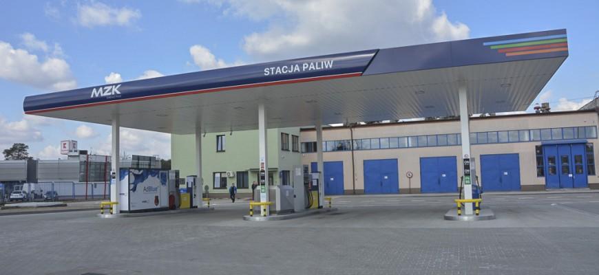 Stalowa Wola MZK samoobsługowa stacja paliw. ON 4,85zł PB 4,55zł