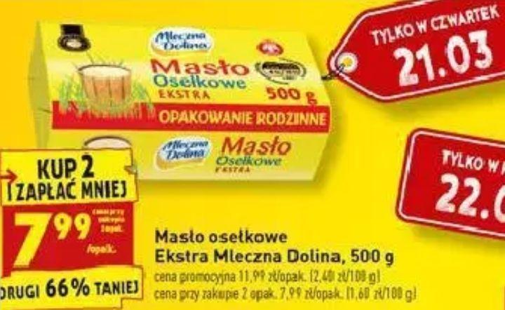 2x masło osełkowe Ekstra Mleczna Dolina 500g (7,99zł za 1) @ Biedronka