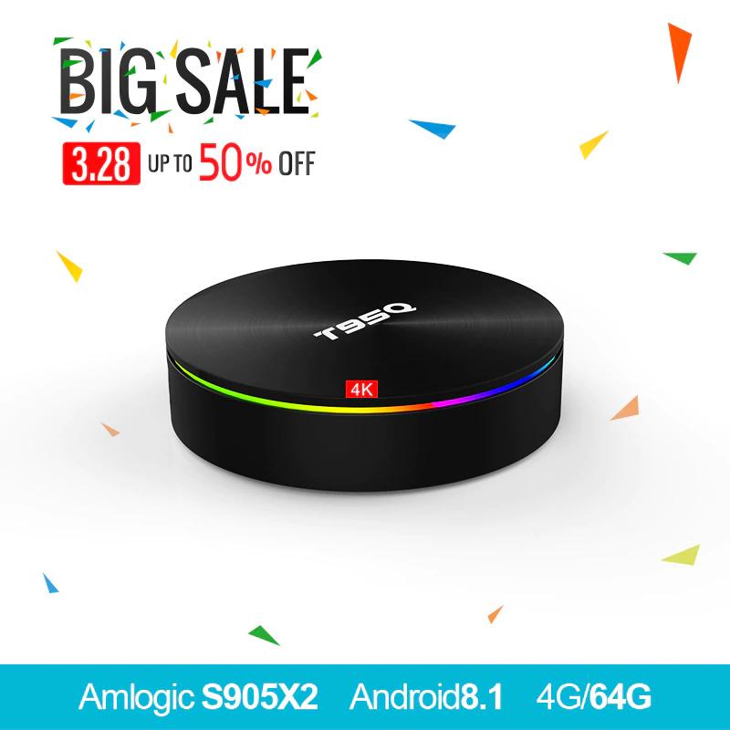 TV BOX T95Q Android 8.1 S905X2 Quad-core 64 Bit DDR3 4GB 32GB 4K UHD WiFi & LAN VP9 DLNA