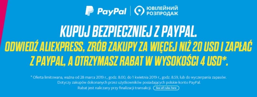 Aliexpress -4 $ przy płatności PayPal (4/20 $) WAŻNY OD 28 MARCA