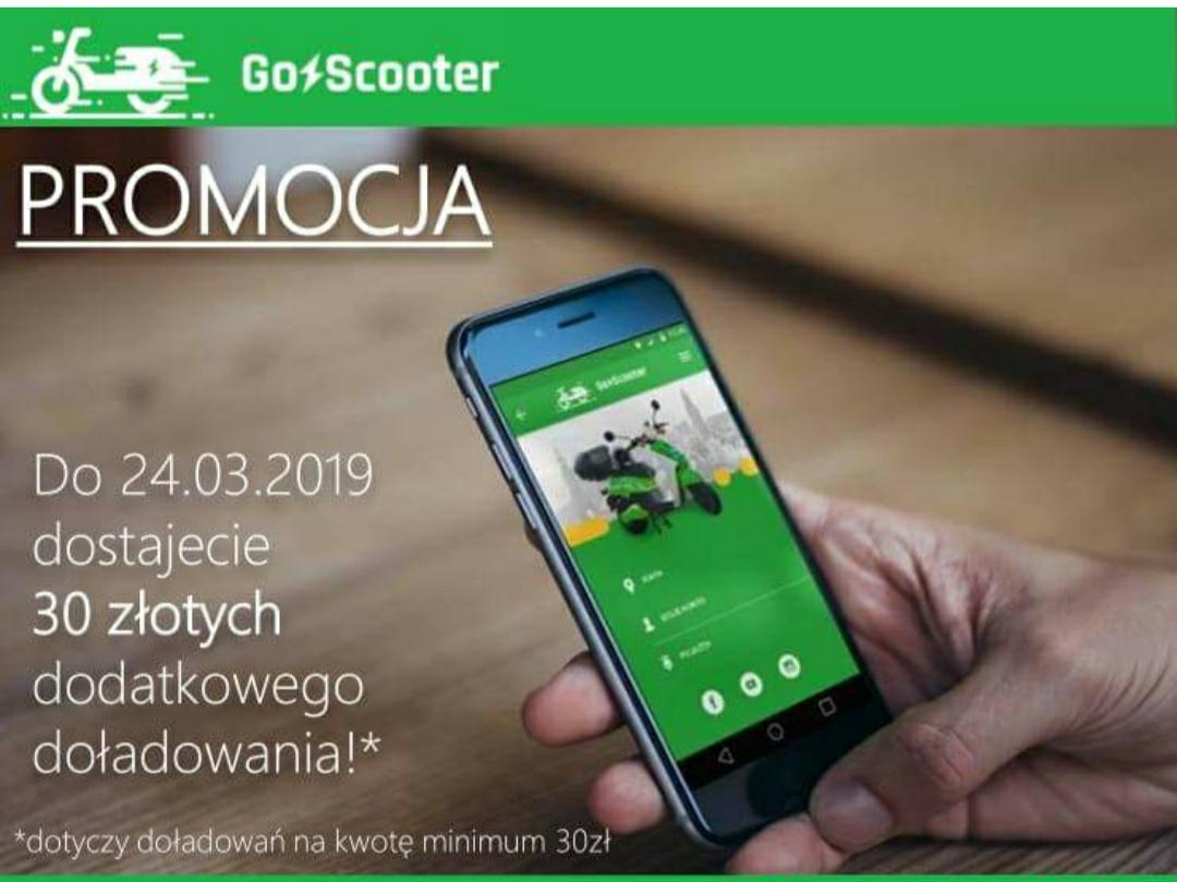 GoScooter Wrocław - dodatkowe 30zł przy doładowaniu za min. 30zł