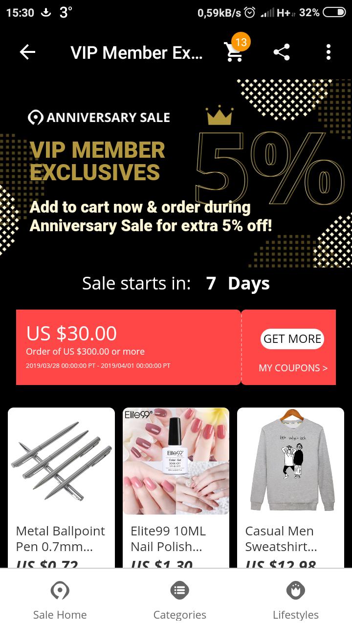Kupon Aliexpress 30/300$ tylko dla VIP.